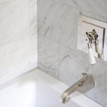 Marble Tiled Shower With Polished Nickel Vintage Shower Kit
