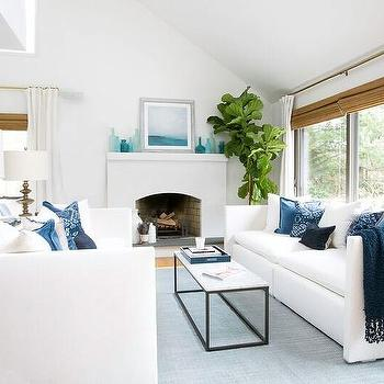 White And Blue Living Room With Face To Face Sofas