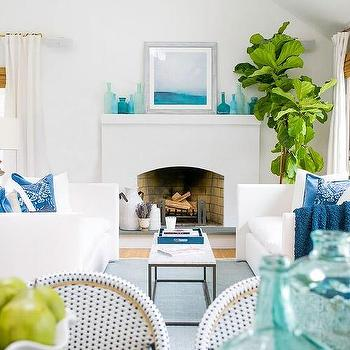 White Coastal Living Room With Blue Accents