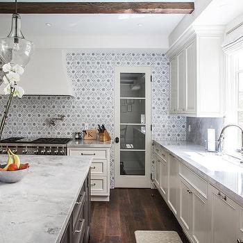 Gray Center Island With Microwave And White Marble