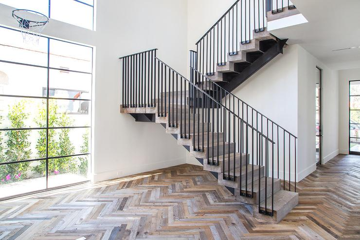 Rustic Wood Herringbone Floors Modern Entrancefoyer