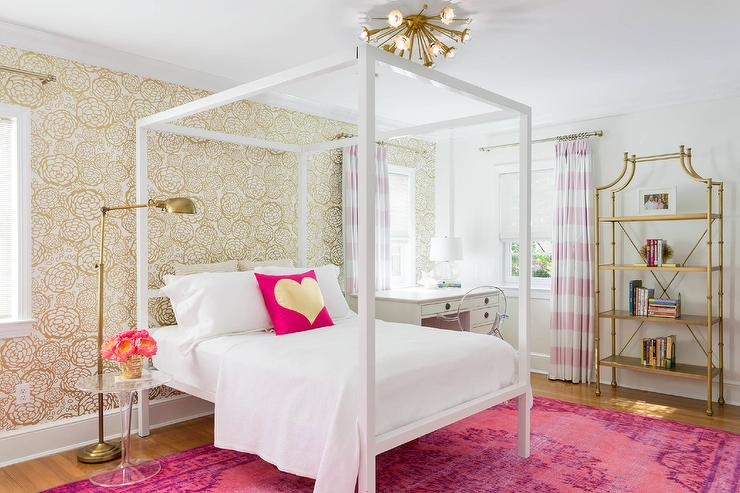 Pink And Gold Teenage Girls Bedroom With White Canopy Bed