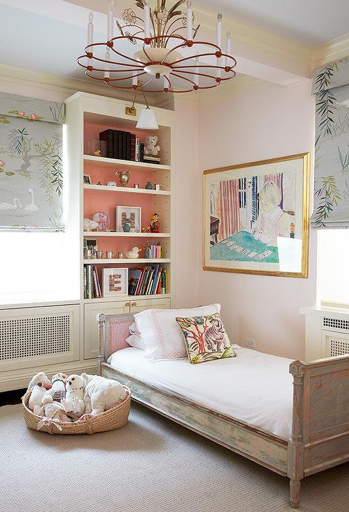Pink Distressed French Kids Bed Under Bookcase French