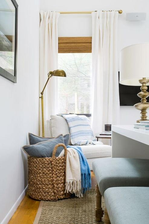 Corner Reading Nook With White Slipper Chair And Brass Pharmacy Floor Lamp