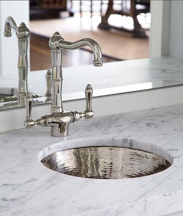 Round Hammered Metal Bar Sink with Vintage Faucet - Transitional ...