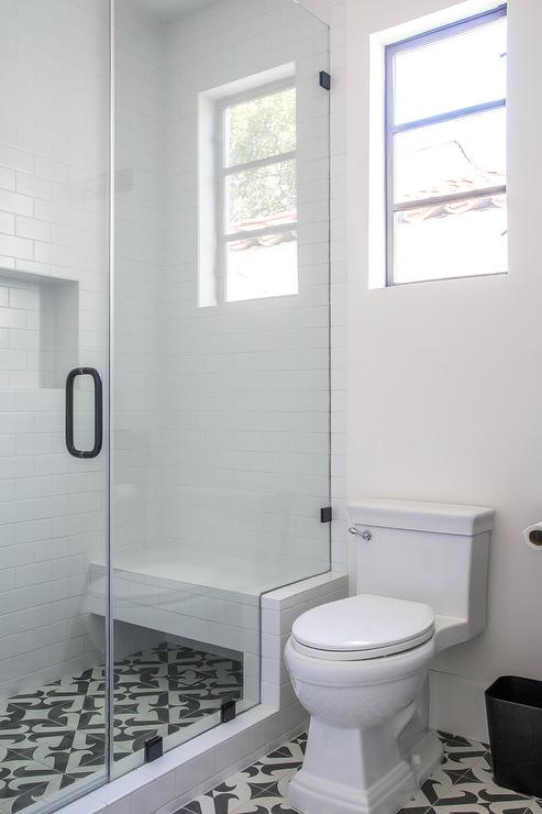Shower with White Subway Tiles and Black Grout - Transitional - Bathroom