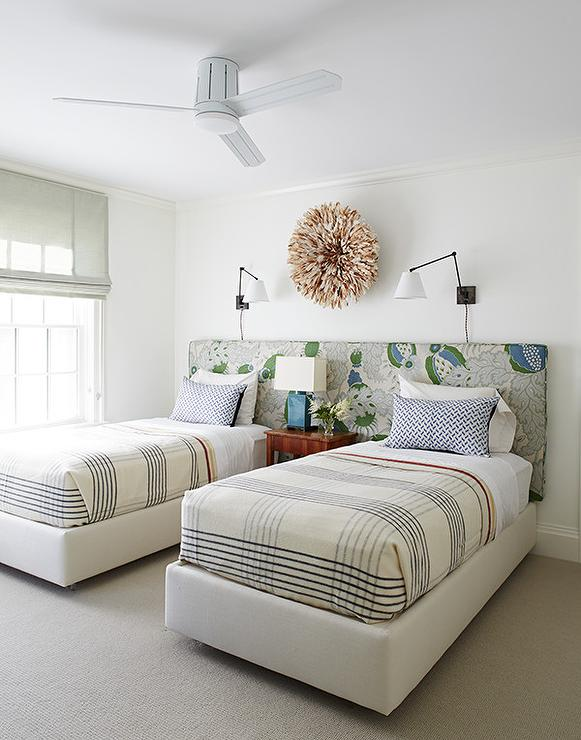 Two Twin Beds on Shared Headboard   Contemporary   Boy's Room