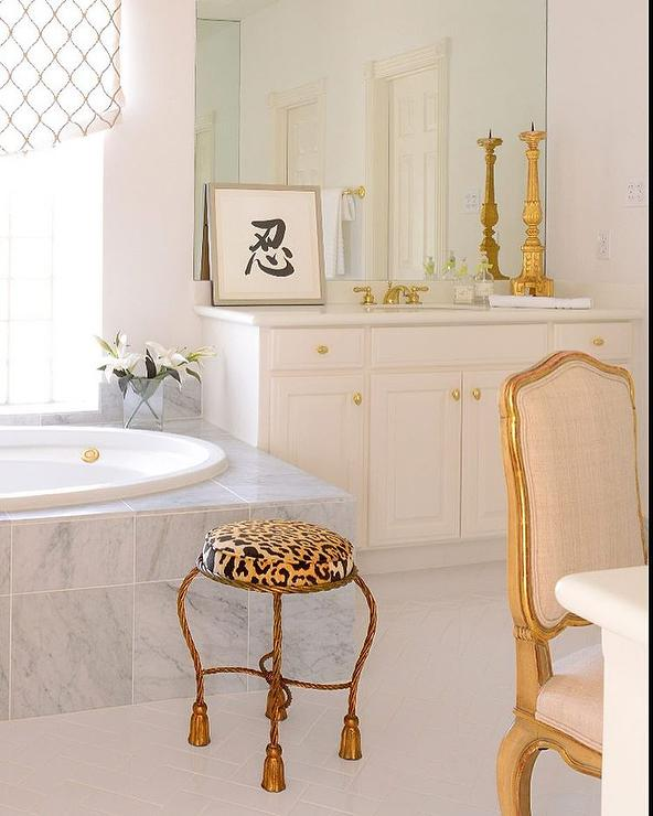 White and gold bathroom with leopard stool french bathroom for White and gold bathroom accessories