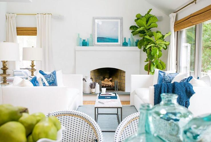 White Coastal Living Room With Blue Accents Cottage Living Room