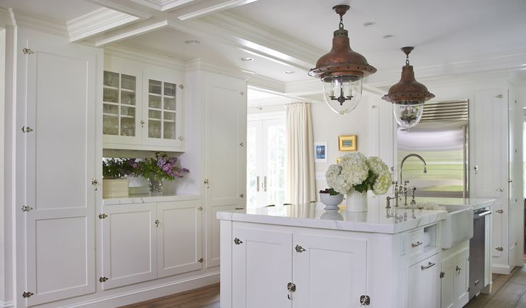 White Cottage Kitchen Island With Vintage Latch Hardware