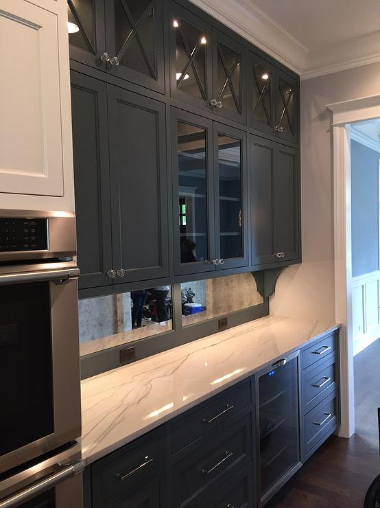 Butler Pantry With Antiqued Mirrored Backsplash