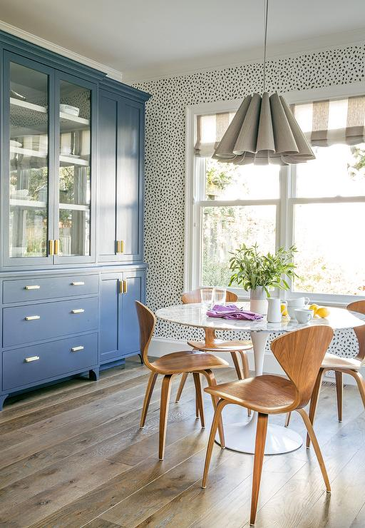 Blue Dining Room China Cabinets With Antique Brass Pulls