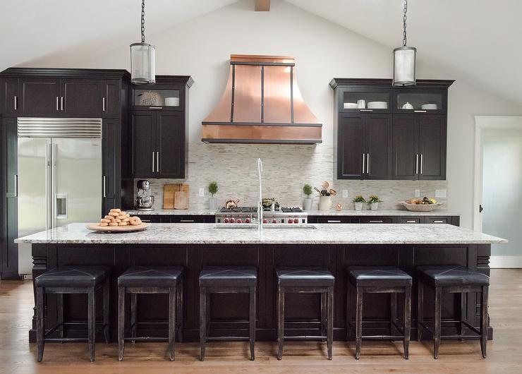 Black Kitchen Cabinets With Copper French Hood