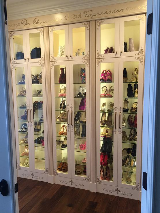 Custom French Shoe Cabinets With Glass Shelves French