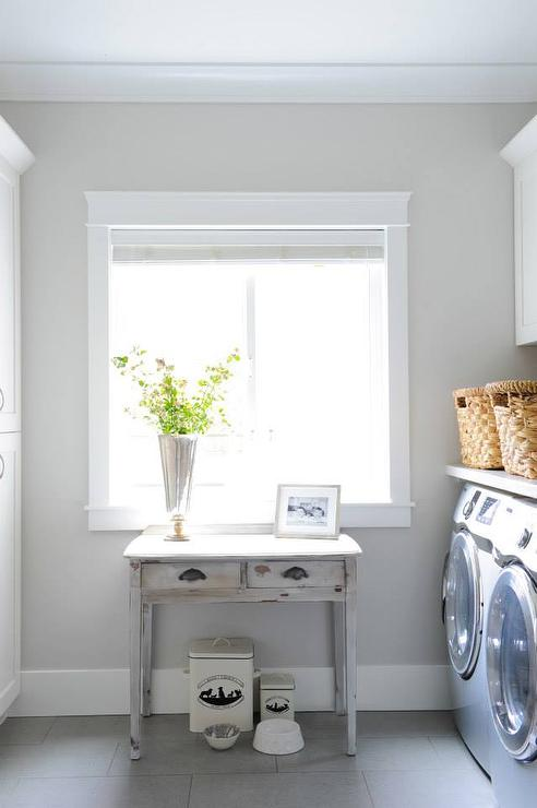 Gray Laundry Room With Gray Distressed Farmhouse Console