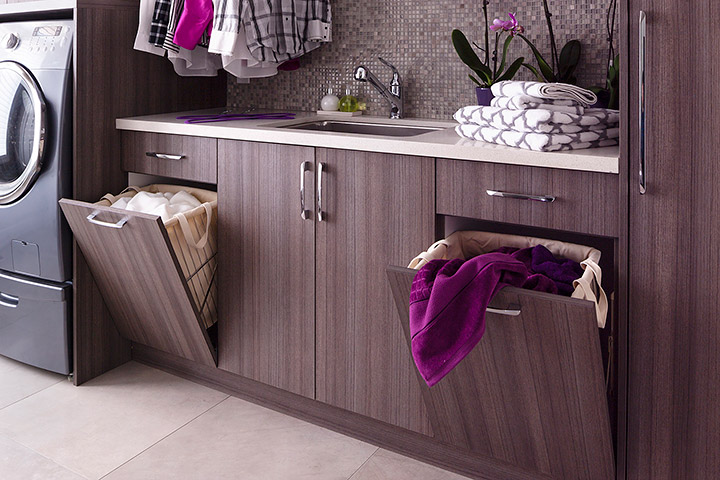 Superbe Melamine Laundry Room Cabinets With Hidden Hamper Cabinets