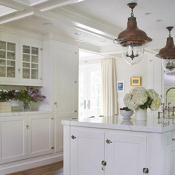 Superior White Cottage Kitchen Island With Vintage Latch Hardware