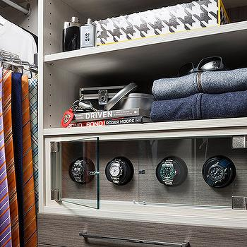 Men Closet With Glass Front Watch Cabinet