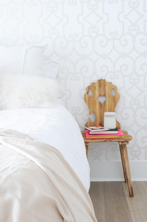 White Bedroom with Schumacher Manor Gate Silver Wallpaper. White Bedroom with Schumacher Manor Gate Silver Wallpaper