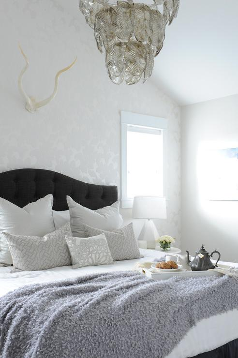 Silver Bedroom With Black Tufted Headboard