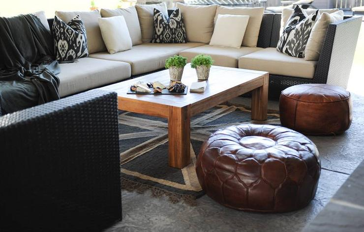 Black Outdoor Sectional With Black Ikat Pillows Transitional - Moroccan outdoor coffee table