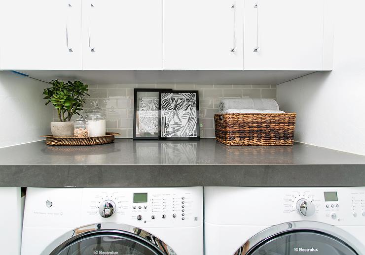 White Flat Front Laundry Room Cabinets with Dove Gray Subway Tile ...