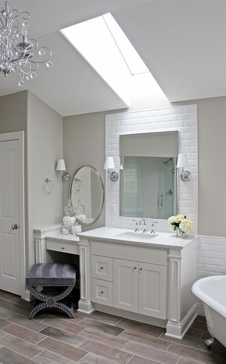 Drop Down Makeup Vanity With Oval Beaded Mirror Transitional Bathroom