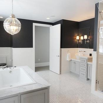 Black And White Master Bathroom With Gray Washstands