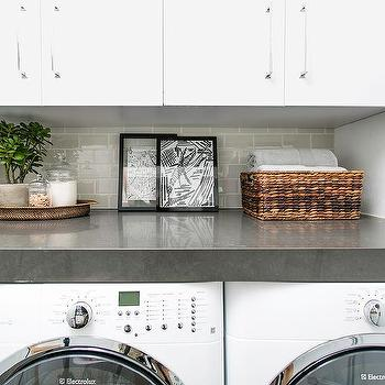 White Flat Front Laundry Room Cabinets with Dove Gray Subway Tile Backsplash & Dove Gray Laundry Room Tiles Design Ideas