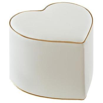 Pink And Gold Heart Ottoman