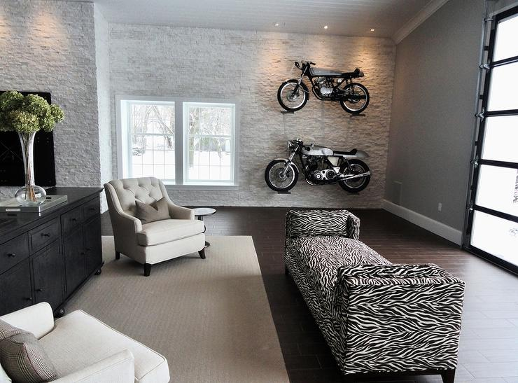 Man Cave With Garage Style Doors Contemporary Media Room