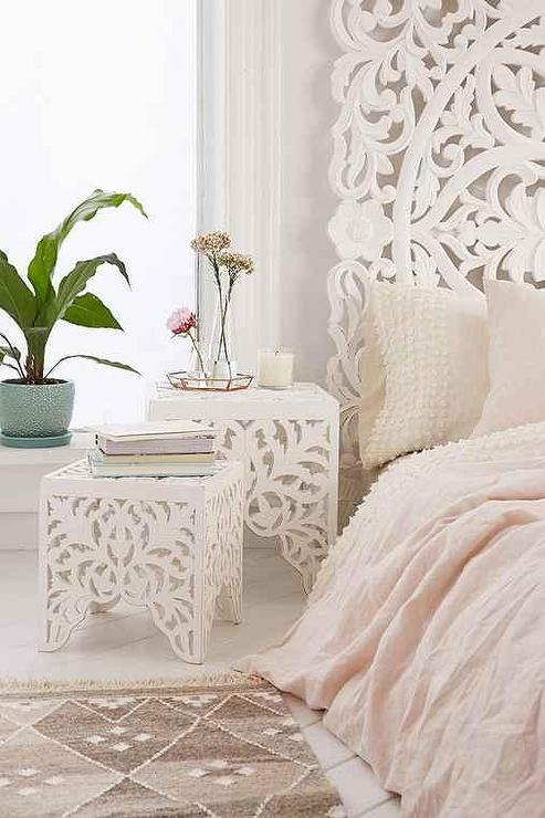 White Sienna Carved Side Table Set