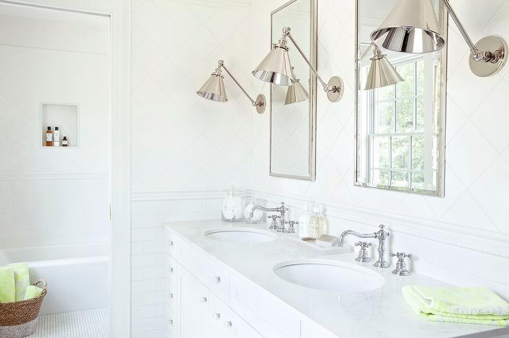 White Penny Tile Bathroom Floor with Light Gray Grout ...