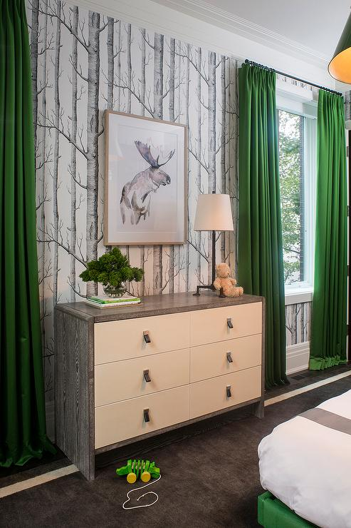 Gray Kids Room With Kelly Green Curtains