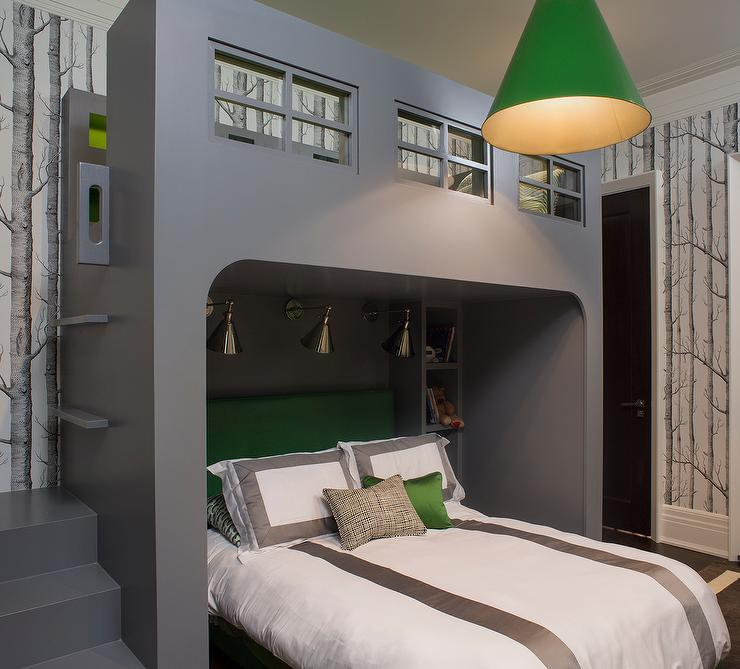 Kelly Green And Gray Boy Bedroom Contemporary Boy S Room