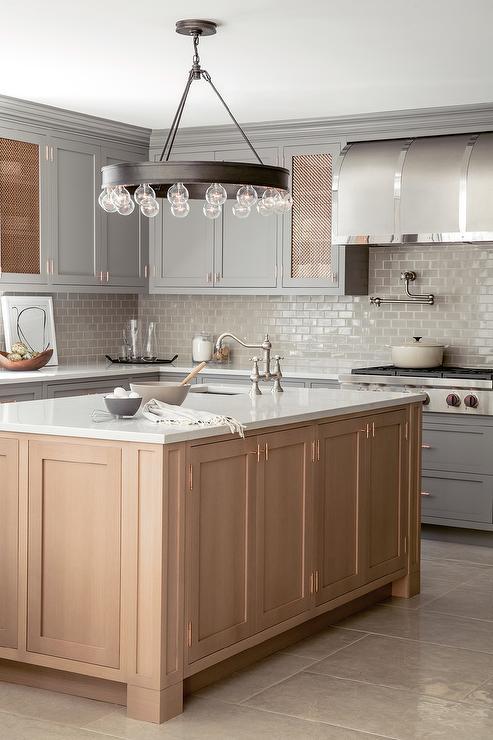 Honey Colored Kitchen Island With Ralph Lauren Roark Modular Chandelier Transitional Kitchen