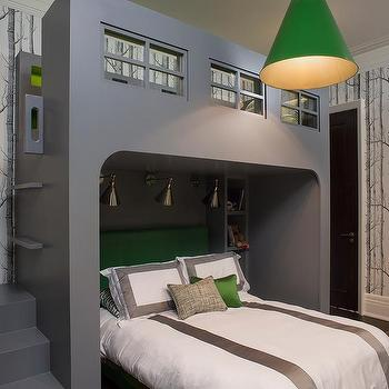 kelly green and gray boy bedroom