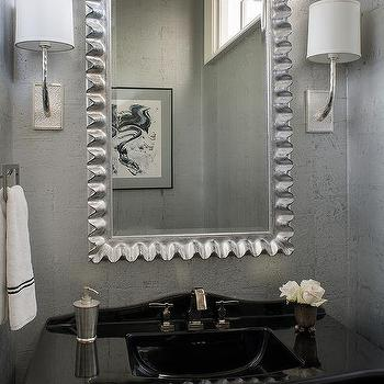 Delightful Silver And Black Powder Room With Silver Leaf Wallpaper