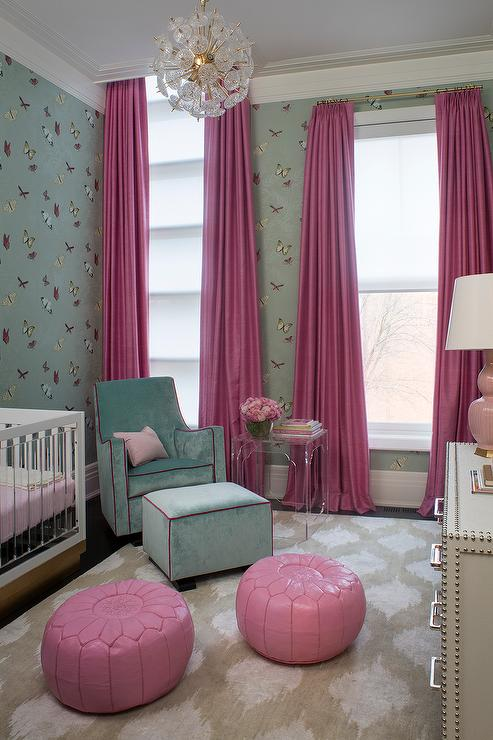 pink and blue nursery with nina campbell farfalla butterfly wallpaper