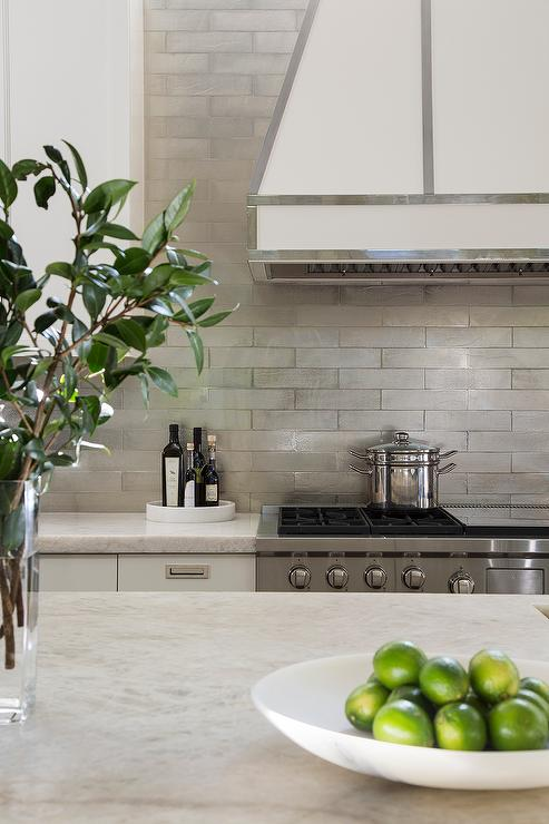 ... Kitchen with Gray Metallic Tile Backsplash - Contemporary - Kitchen