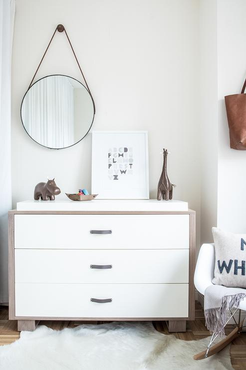 White And Tan Boyu0027s Nursery Features A Two Tone Dresser Adorned With  Leather Strap Hardware, Ducduc Austin 3 Drawer Changer Under A Leather  Strap Captainu0027s ...