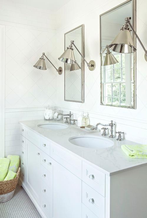 White Tile Bathroom Gray Grout white penny tile bathroom floor with light gray grout