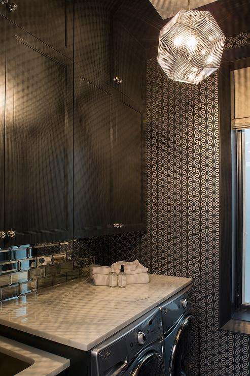Black And White Laundry Room With Beveled Mirrored Subway Tiles View Full Size