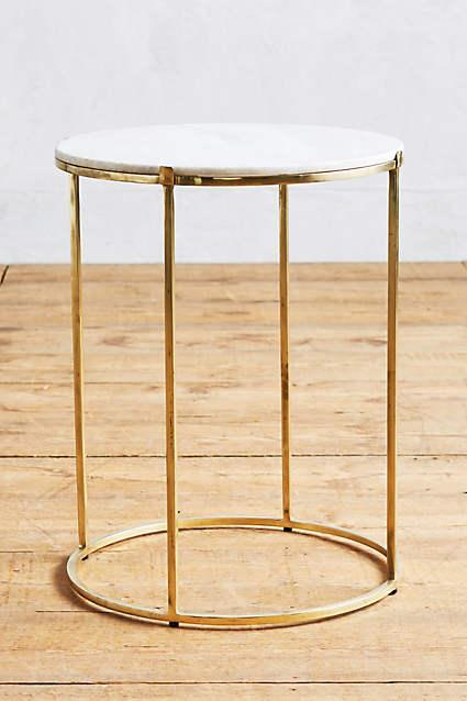 Brass leavenworth marble side table for Round marble side table