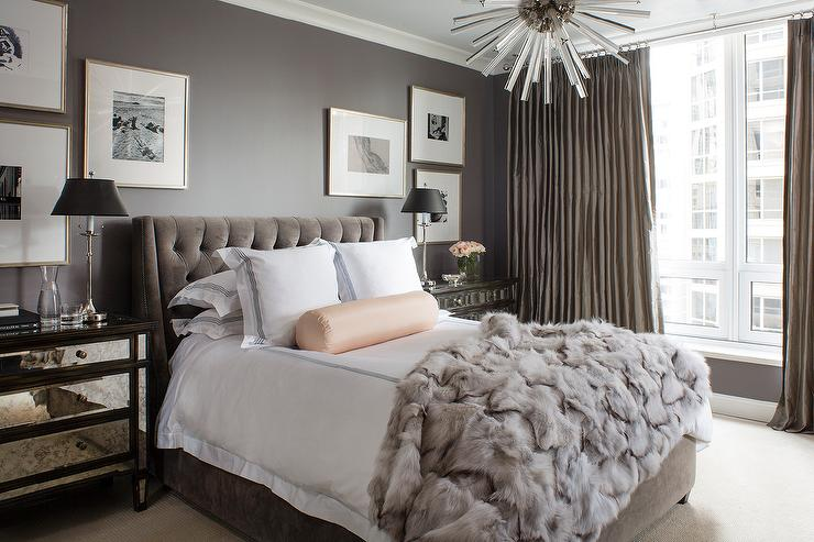 dark gray velvet bed design ideas