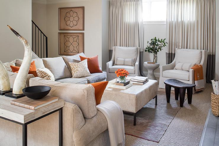 Gray And Orange Living Room With Pumpkin Hermes Blanket
