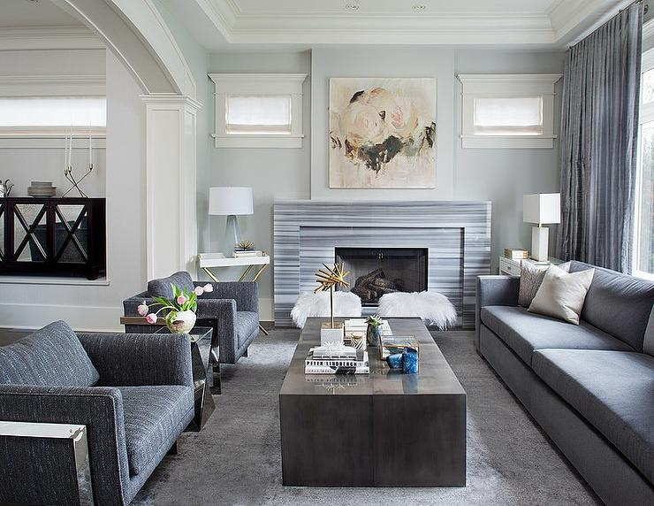 Nice Gray Living Room With Gray Striped Marble Fireplace