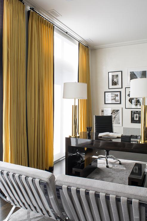 Home Office With Yellow Curtains With Black Trim Contemporary
