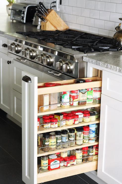 Countertop Next To Stove : Built In Spice Rack Next To Stove Design Ideas