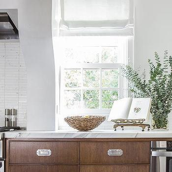 Brown Kitchen Cabinets With Vintage Style Pulls